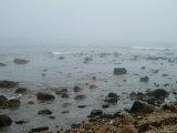 Rocky Coastline Shrouded in Fog  Block Island  Rhode Island