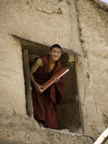 Monk in a Dormitory Window with a Book  Qinghai  China
