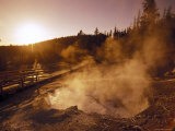 Sunrise over the Echinus Geyser at the Noris Geyser Basin in Yellowstone National Park  Wyoming