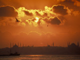 Sunrise over the Golden Horn in Bosporus Sea in Istanbul  Turkey