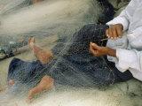 Photo of a Fisherman Repairing his Net  Egypt