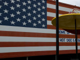 Large American Flag Painted on an Outdoor Wall  Brooklyn  New York