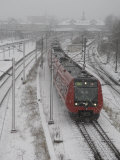 One Red Train on Snow Day  Copenhagen  Denmark