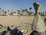 Stacked Rock Art at Venice Beach in California