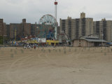 Looking Across the Beach to the Ferris Wheel at Coney Island  Brooklyn  New York