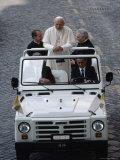 Pope John Paul II Rides in an Open-Air Vehicle
