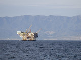 Oil Rig in the Santa Barbara Channel and the Santa Ynez Mountains  California