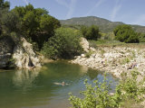 Swimmers Cool Off in the Ventura River  California