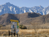 Lone Pine Sign and Mount Whitney from Highway 395 in Lone Pine  California