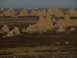 Nomads Pass by Travertine Towers on the Bed of a Shrinking Lake