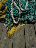 Tangle of Fishing Ropes and Nets on a Dock