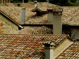 Rooftops Covered with Terra Cotta Roof Tiles  Asolo  Italy
