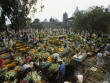 Mexicans Celebrating el Dia de Los Muertos Keep Vigil in Cemeteries  Mexico