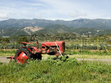Red Tractor on Farm with Mountains in the Background  California