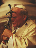 Pope John Paul II Prays with a Bishop&#39;s Crosier Pressed to his Brow