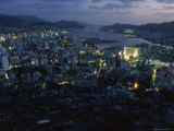 Nagasaki Overlooking its Harbor at Dusk  Japan