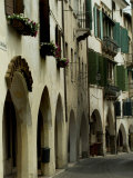 Narrow Road Lined by Shuttered Windows  Asolo  Italy