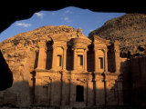 The Facade of the Monastery at Sunset in Petra  Jordan