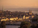 Sunset over Zurich  Switzerland from Hotel Zurich