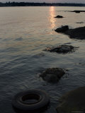 Sunset on the Shore of the Thames River Where a Tire Has Washed Up  Groton  Connecticut