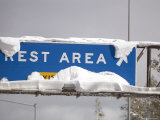 Rest Rea Sign at Donner Summit Covered in Fresh Snow  California