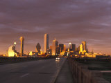 Sunset on the Dallas Skyline Seen from the South Bank of the Trinity River in Texas