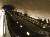 People Riding the Dupont Circle Metro Station Escalator  Washington  DC