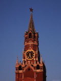 Spasskaya Tower with It&#39;s Clock and Spires and Star-Topped Pinacle