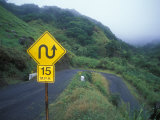 Traffic Sign on the Kahekili Highway North Shore  Hawaii