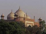 The Domes of the Taj Mahal Mosque Rise above the Garden Canopy  Agra  India