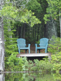 Two Chairs Sit at a Lakeside Camp  Moosehead Lake  Maine