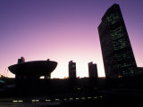 Silhouetted Empire State Plaza at Night in Albany  New York