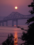 Tappen Zee Bridge at Sunset over the Hudson River in Terrytown  New York