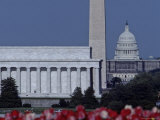The Lincoln Memorial with Washington Monument and Capitol Building  Washington  DC