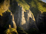 Sunlight Shines on Rock Formations on Nuku Hiva Island  Anaho Bay  French Polynesia