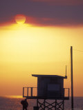 Sunset During the Malibu Fires; Silhouette of Lifeguard Stand  California