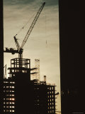 Silhouette Crane at a Skyscraper Construction Site  New York