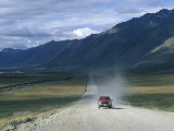 Truck on the Dalton Highway Following the Alyeska Pipeline  Alaska