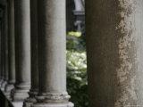 Stone Pillars in an Italian Courtyard  Ravenna  Italy