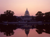 The US Capitol Building Reflected in a Pool at Dusk  Washington  DC