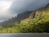 Storm Clouds Rolling in over Sunlit Anaho Bay  French Polynesia