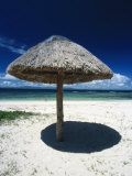 Thatch Palapa Umbrella on Beach with People Walking Next to the Sea