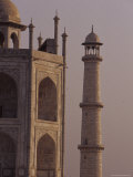 The Taj Mahal and One of It's Massive Marble Minarets at Dawn  Agra  India