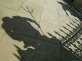 Shadow of the Statue of Neptune Outside the Arsenale Entrance  Venice  Italy