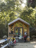 Woman Relaxes at el Capitan Canyon Cabin in the Sycamore Trees