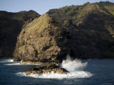 Waves Crashing on the Rocks at Hiva Oa Island  French Polynesia