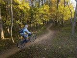 Woman Mountain Biker Rides Singletrack Trail Through Woods