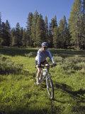 Woman Moutain Biking in Smith Meadows