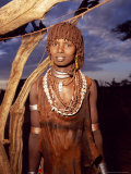 Young Hamer Woman in Southern Ethiopia with Traditional Dress