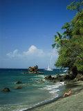 Sunbathing on the Beach in St Lucia